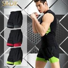 f1a6f9c3b SKDK 1 punid pantalones cortos para correr hombres falso dos piezas  Bodybuilding entrenamiento pantalones cortos baloncesto