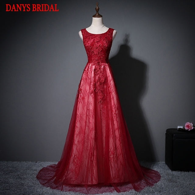 Red Long Lace Evening Dresses Party A Line Women Beautiful Prom Formal  Evening Gown Dress for Wedding on Sale c804cf1e88b4
