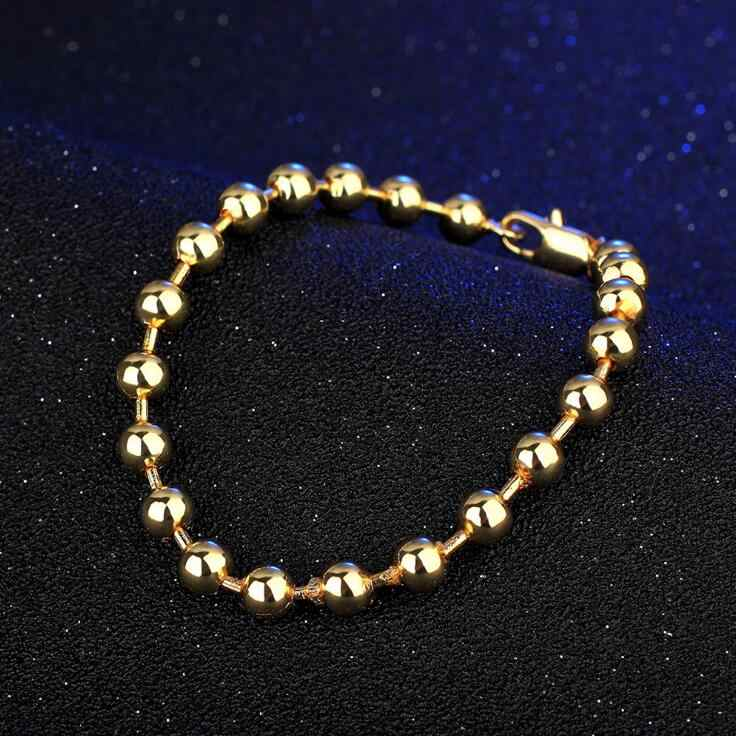 SMTCAT Free Shipping 18 K 6MM Bead Shape Design Pulseiras Bracelet 20CM for Lady Male Festive Gifts