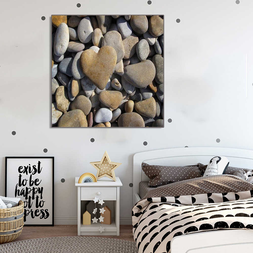 Laeacco Canvas Calligraphy Painting Nordic Heart Stone Posters and Prints for Living Room Bedroom Home Decoration Pictures