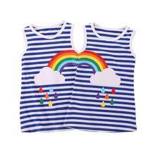 купить Kids Girls Twins Summer Dress Rainbow Striped Printed Sister Princess Party Sundress Baby Sleeveless Clothes Outfit 1-6 Years по цене 481.97 рублей