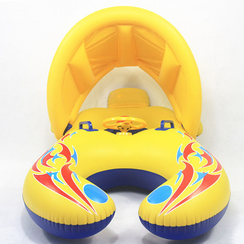New Inflatable Baby Float Swimming Ring Accessories With Sun Visor