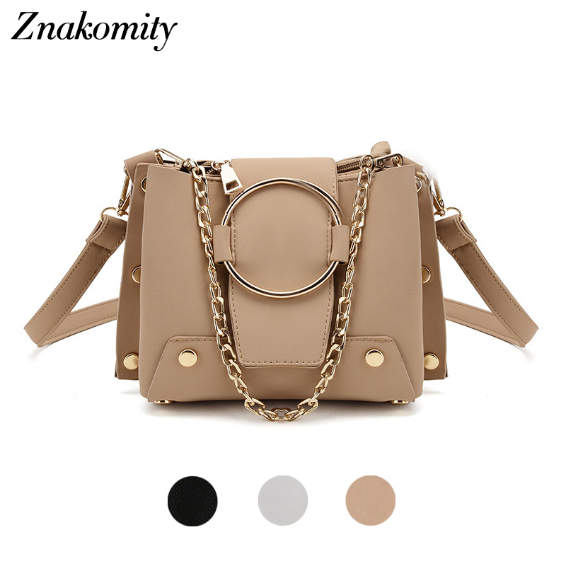 Znakomity Small crossbody messenger bag women's shoulder bag with chain metal ring leather handbag rivet Fashion tote bag bucket lydian fashion small bucket bags 2018 new handbag women messenger bag shoulder bag rivet vintage brown purse tote bolsa pequena