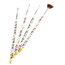 Paraíso 2016 Caliente 4 UNIDS Flores Nail Art Design Set Puntea Dibujo Pintura Pluma del Cepillo Herramientas Envío Libre May10