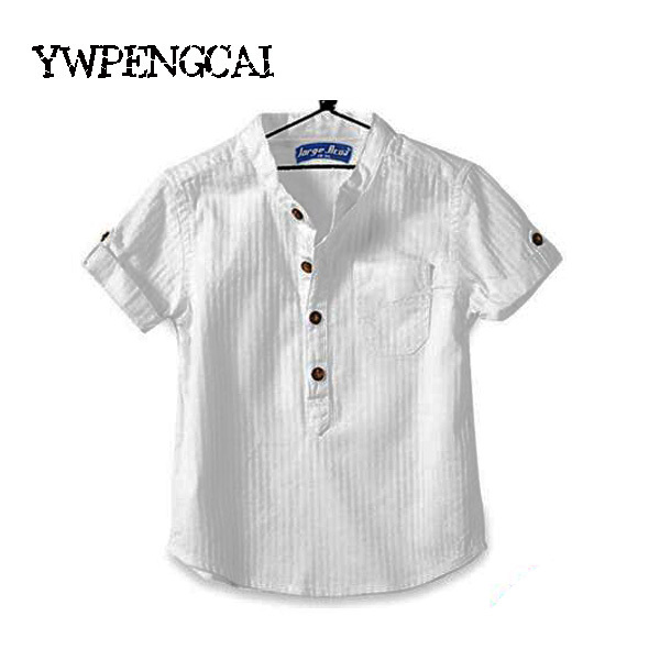 Fashion 2018 Summer Boys Shirts Stand Collar Children Cotton White Shirts For Boy Kids Handsome Casual Tops Boys Clothes