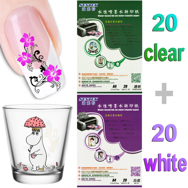 A4 inkjet clear white water slide transfer decal paper 20sheets clear 20sheets white