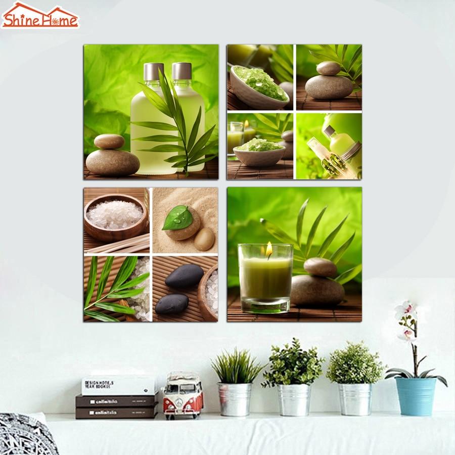 Shinehome 4pcs Wall Art Canvas Painting Printing Spa Yoga: ShineHome 4pcs Modern Canvas Paintings Stone Green SPA