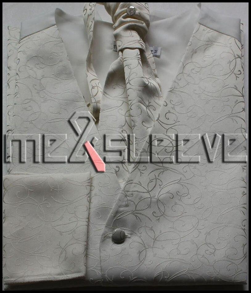 hot sale Men s microfiber ivory swirl waistcoat 4pcs