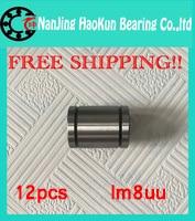 Free shipping!!12 pcs/lot LM8UU 8mm linear ball bearing Linear Bearing 8mm 3d printer parts LM8