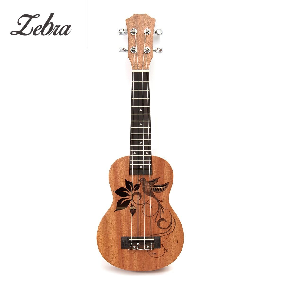 Zebra 21 Inch Soprano Sapele Mini Ukulele Uke 15 Frets 4 Strings Bird Flower Pattern Wood Guitar Universal Musical Instruments