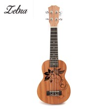 Zebra 21 Inch Soprano Sapele Mini Ukulele Uke 15 Frets 4 Strings Bird Flower Pattern Wood Guitar Universal Musical Instruments