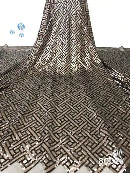 High quality sequence French Nigerian sequins net lace,African tulle mesh sequence lace fabric for dress 5yards/lot   XB11