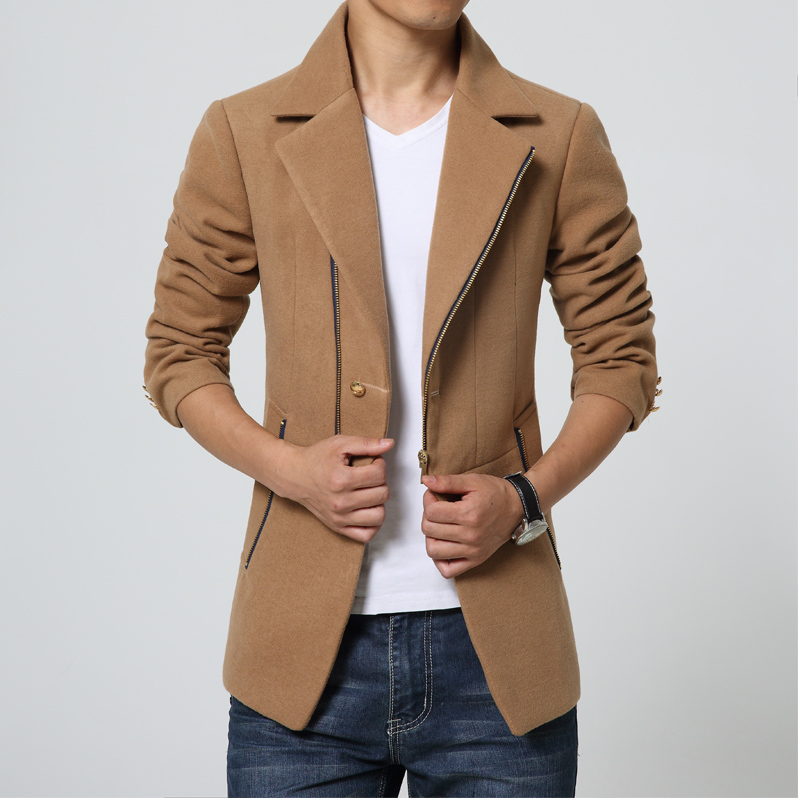 Men Trench coat Korean fashion blue Overcoat short thick fall winter fitted pea coat slim 3XL 2018 Male clothing