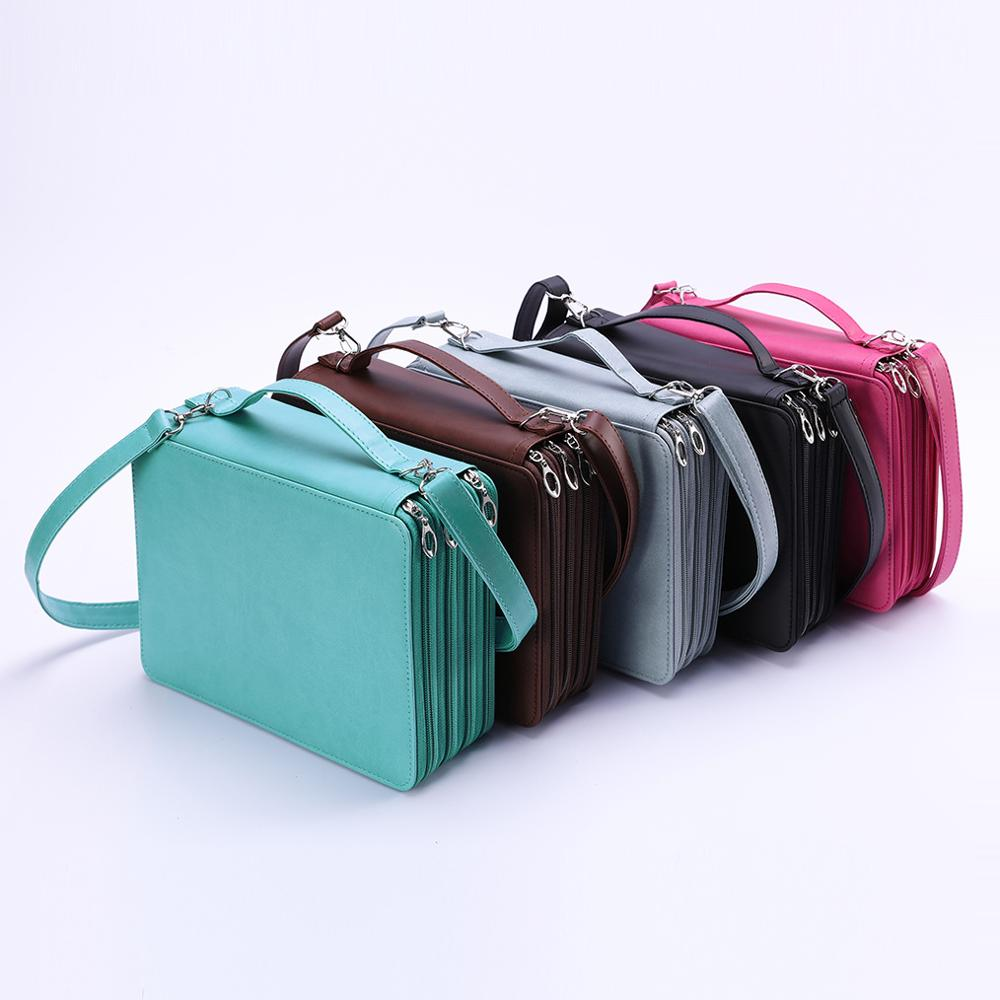 184 Holes Pencil Case Shoulder Strap Large Capacity Colored PU Leather School Pen Bag Box Multi functional For Art Supplies GiftPencil Cases   -