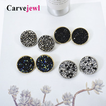 Carvejewl big stud earrings simple round glass rhinestone for women jewelry romantic new fashion European