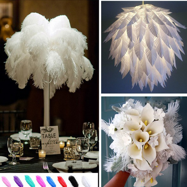 20pcs Ostrich Feathers Diy Accessories Window Wedding Table Home Party Natural Decoration Flower Arrangement