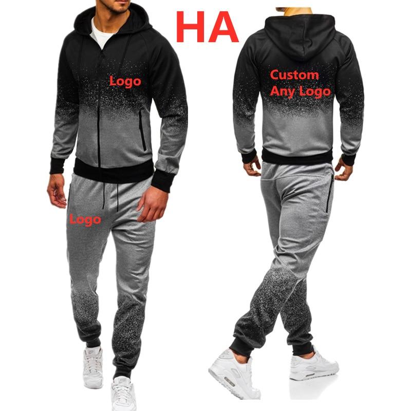 HA Men's Casual Hoodies Unique Print Logo Gradient Hooded Mens Jacket Top Quality Sweatshirt Man's Harajuku Sweatpants Suit 2pcs