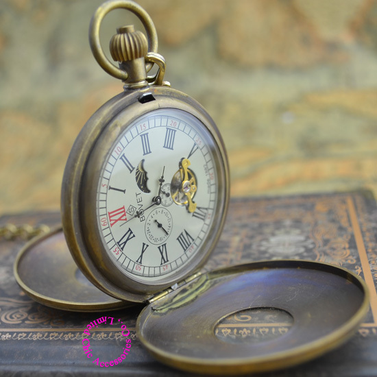 Wholesale Moon Phase Pocket Watch Retro Brass Classic Man Fob Watches Antique Double Cover BOVET Mechanical Good Quality