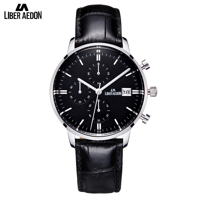 Liber Aedon Black Leather Strap Sport Mens Watches Classical Business Men Wrist Watch Casual Quartz Top Brand Men Watch Relogio