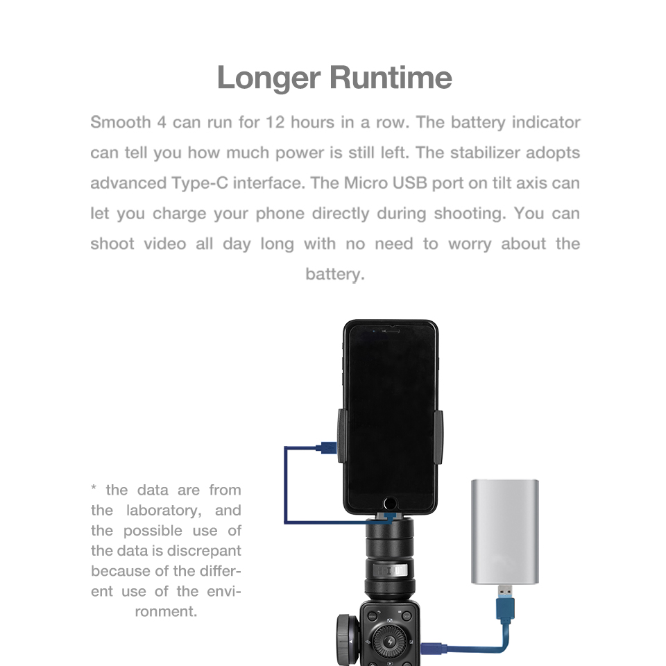Zhiyun Smooth 4 3-Axis Handheld Smartphone Gimbal Stabilizer for iPhone XS Max XR X 8Plus 8 7P7 Samsung S9 S8 S7 & Action Camera 13