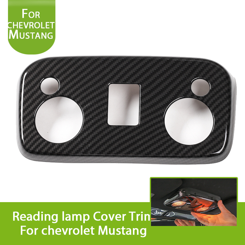 Car Styling Interior Top Reading Lights Trims Panel Covers Interior Moulding for Ford Mustang 2015-2017 (Carbon Fiber Look) for nissan r34 gtr carbon fiber radio surround stick on type rhd fibre interior garnish car styling in stock