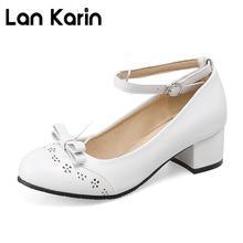 Lankarin Lolita Bombas de Las Mujeres Dulces Bowtie Med Talones de Las Señoras Zapatos de Tacón Cuadrado de Cuero Verano Mujer Plus Tamaño 35-43 negro Blanco
