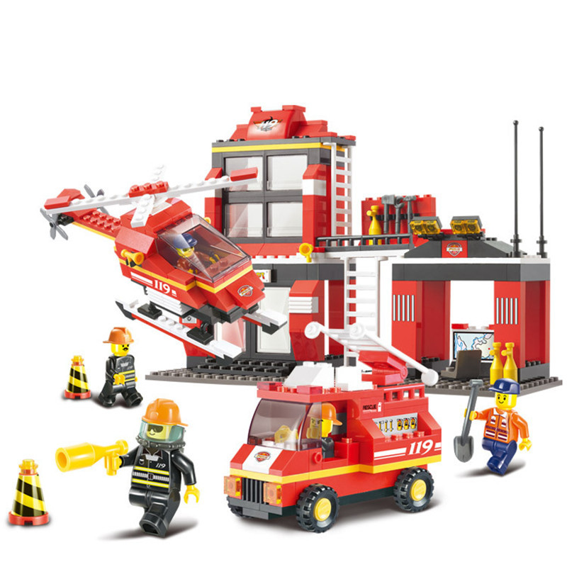 371pcs Legoings Fire Center Fire Rescue Airplane Building Blocks Kit Toys Boys Birthday Christmas Gifts bizzy bear fire rescue