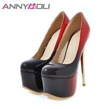 ANNYMOLI Women Pumps Extreme High Heels Platform Women Shoes 16 cm Heel Shallow Stiletto Sexy Ladies Party Shoes Plus Size 33-46