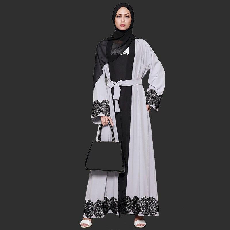 Nouveau Mode Grande Taille Femmes Robe Robes Marocaines Cardigan Robe Abaya Musulman Caftans Dubaï Robe S-5XL
