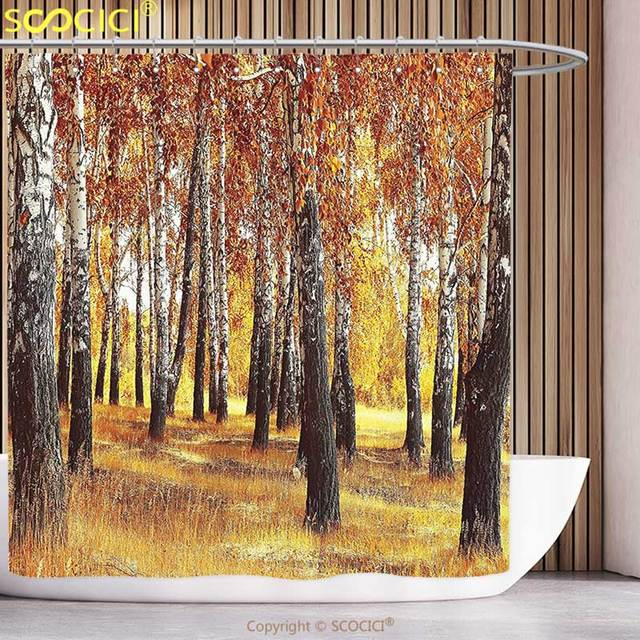 Fun Shower Curtain Woodland Decor Jungle In The Fall With Yellow Birches And Dry Herb Golden
