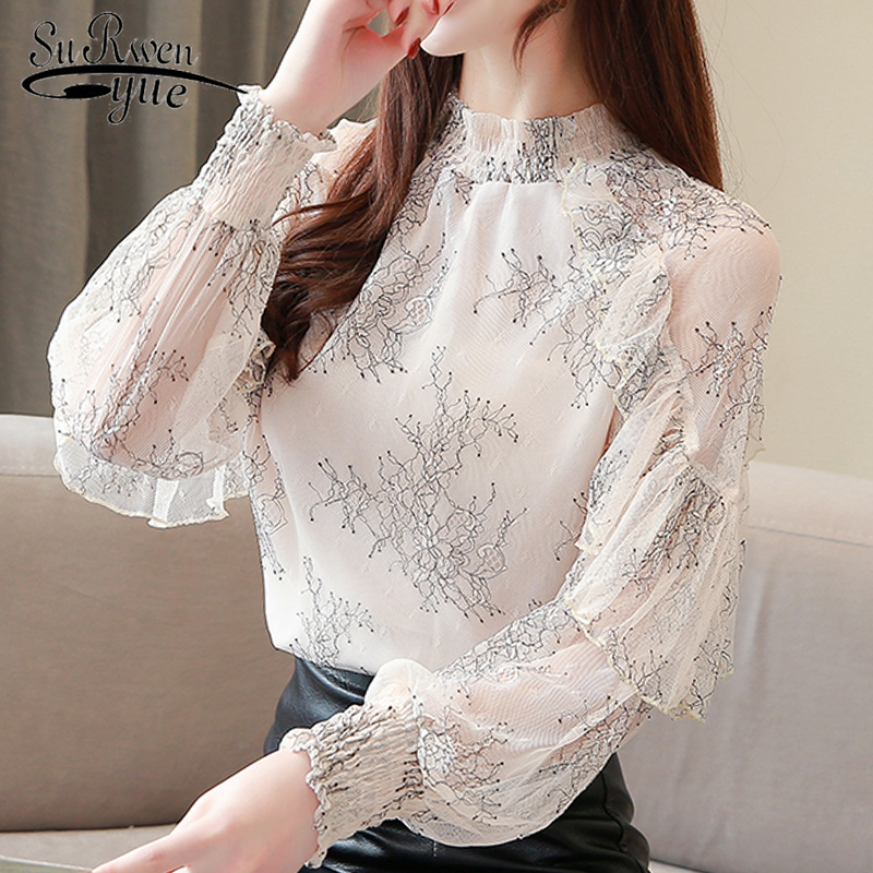 Fashion woman   blouses   2019 new ruffles print hollow lace   blouse     shirt   womens tops and   blouses   long sleeve women   shirts   2462 50