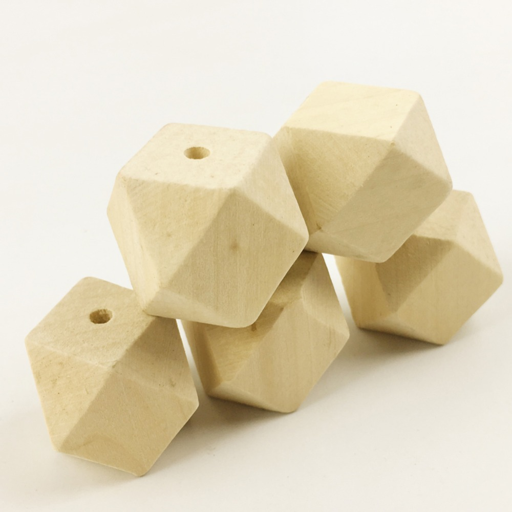 ᗜ LjഃBig geometric wooden beads(30mm 10pc)faceted Figure Octagonal ...