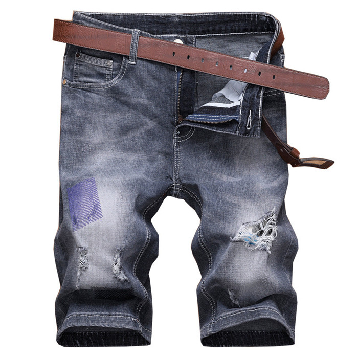 2019 New Mens Classic Denim Shorts Fashion Casual Straight Slim Fit Elastic Cotton Ripped Short Jeans Male Clothes,s9802 Possessing Chinese Flavors Casual Shorts