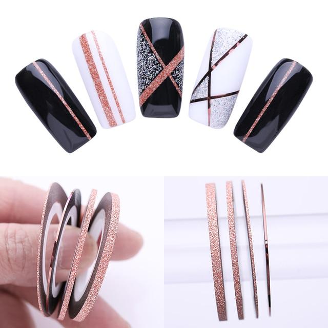 4 Uds. De cintas adhesivas para decoración de uñas, 1mm, 2mm, 3mm de purpurina, calcomanías para arte de uñas, herramienta de estilismo DIY