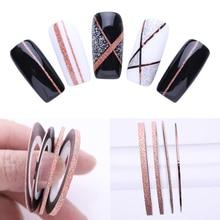 Ensemble de lignes de rubans pour bandes pour bandes pour rayures, autocollants adhésifs, or Rose, mat, paillettes, 1mm, 2mm, 3mm, pour Nail Art, bricolage, bricolage, 4 pièces