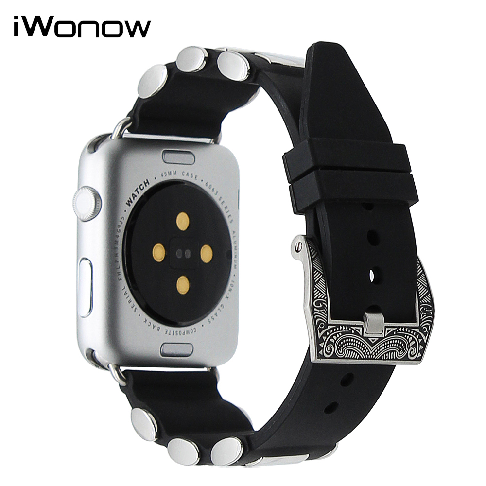 Silicone Rubber Watchband for iWatch Apple Watch 38mm 42mm Series 1 & 2 Steel Tang Buckle Band Wrist Strap Sports Bracelet Black