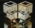 Moda de luxo diamante de vidro móveis decotation alças dresser knob ouro prata cristal k9 gaveta do armário do vinho puxar quadrado