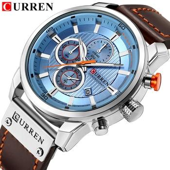 Top Brand Luxury CURREN Fashion Leather Strap Quartz Men Watches Casual Date Business Male Wristwatches Clock Montre Homme 2019 - discount item  47% OFF Men's Watches