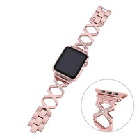 Rose gold X Design Imitation Diamond Women Watch band Strap for apple watch 42 mm 38 mm Watchband for iwatch serise 1 2 3
