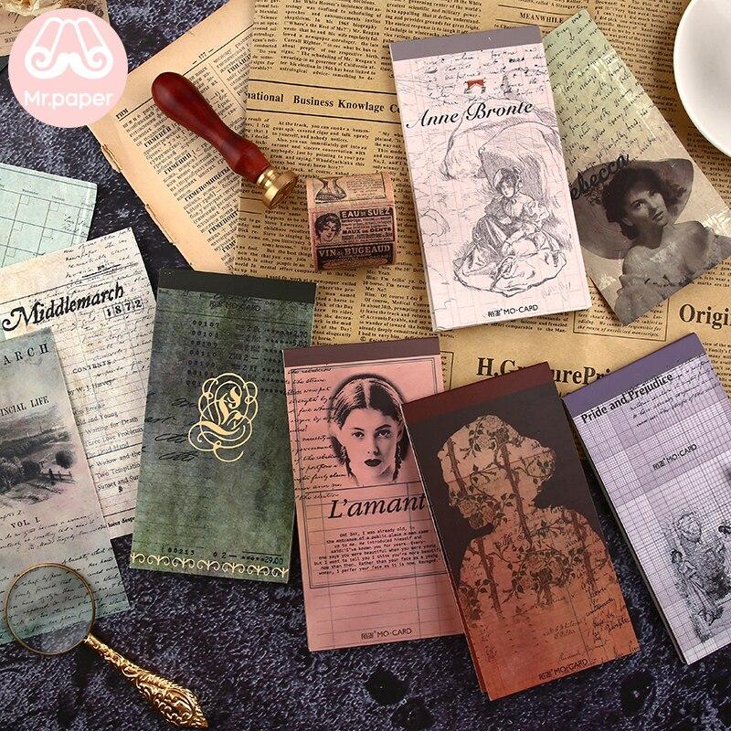 Mr Paper 24pcs/lot 12 Designs Vintage Style Famous Literature Female Authors Memo Pads Creative Artsy Loose Leaf Note Memo Pads