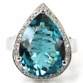 6# Rich Blue Aquamarine, White CZ SheCrown Created Woman's Wedding  Silver Ring 22x16mm