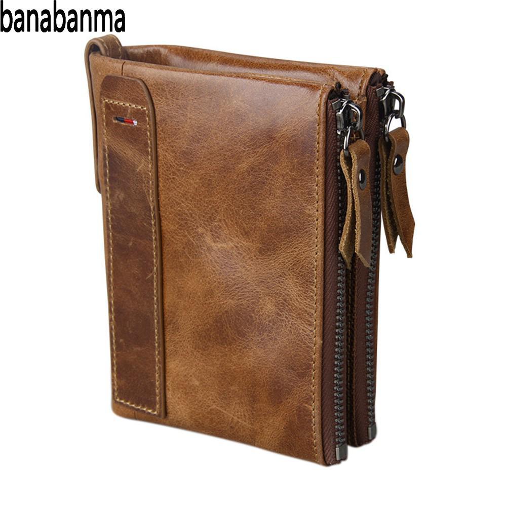 Banabanma Echte Brieftasche Rindsleder Männer Brieftaschen Doppel-reißverschluss Kurze Geldbörse Münze Taschen Anti RFID Karte Halter Brieftasche Männer 40