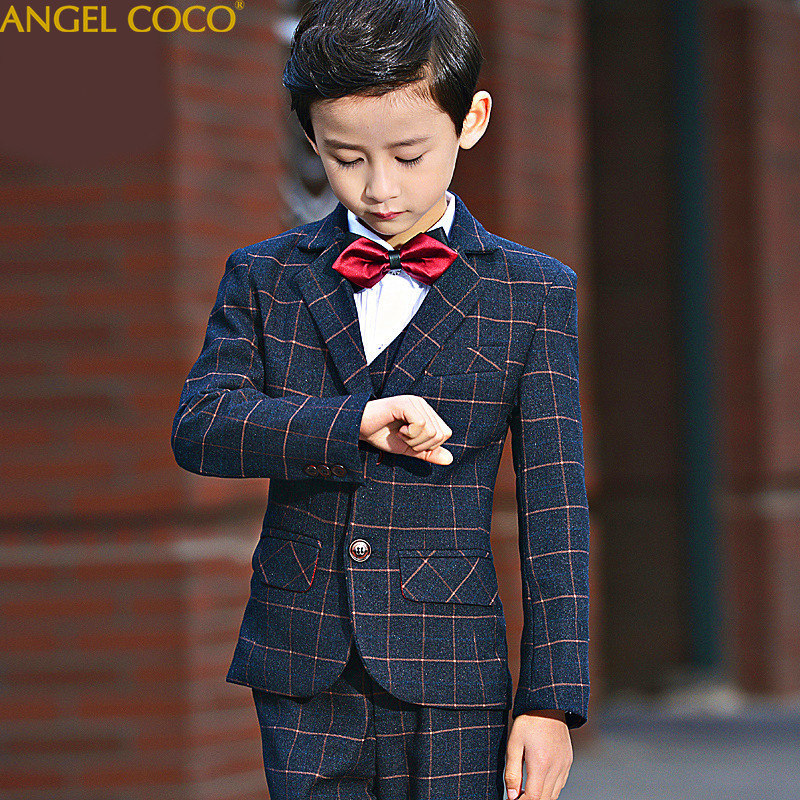 High Quality 2018 New Arrival Fashion Baby Boys Kids Blazers Boy Suit For Weddings Prom Formal Dark Blue Dress Wedding Boy Suits цены онлайн