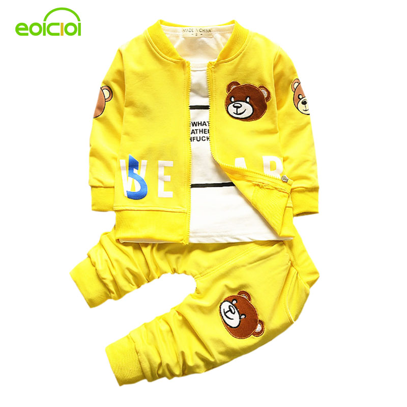 new 2017 spring autumn cartoon toddler baby boys clothing sets kids 3pcs sports suit bears jacket coats+long sleeve Tees+pants