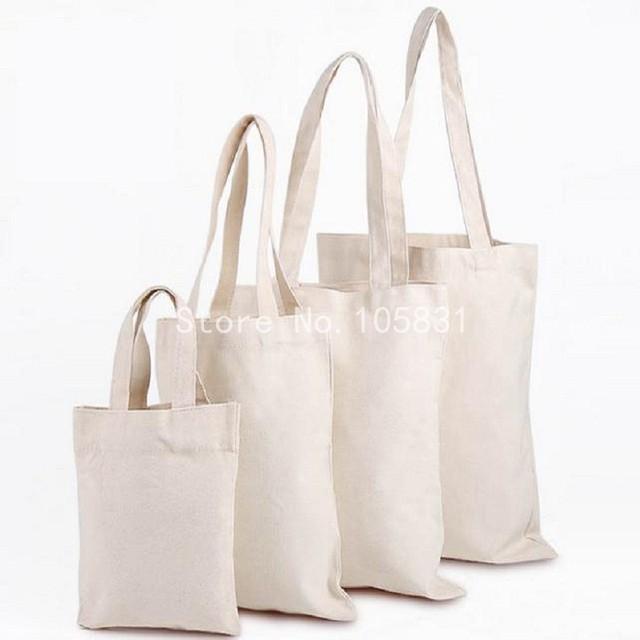 50pcs Blank White Cotton Canvas Bag Custom Logo Printed Travel Tote Bags 35 40cm