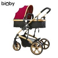 Многофункциональная 3 в 1 детская коляска прогулочная коляска складная коляска Золотая детская коляска для новорожденных