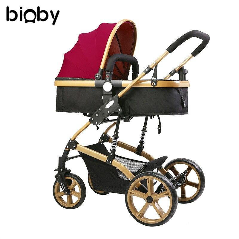 Multifonctionnel 3 en 1 bébé poussette haute paysage poussette pliante chariot or bébé poussette nouveau-né poussette
