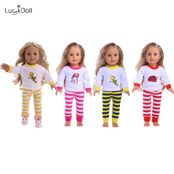 Promotio 2 Pcs Set Cute Pajamas Doll Accessories Clothes Dress For 18 Inch Girl Doll