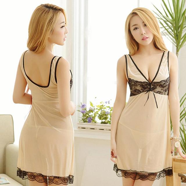 Women Nightdress Nightgown Sexy Lingerie Sleepwear V-Neck Sleeveless Sheer  Lace Mesh Babydoll G-String Set bae3167f7