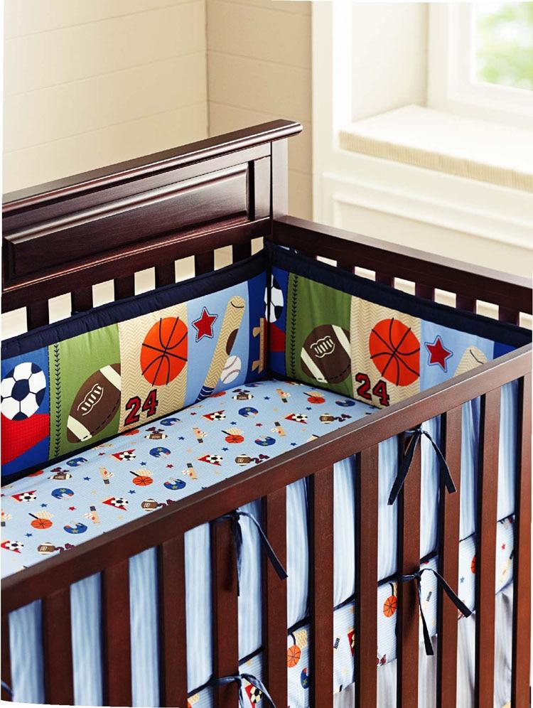 Promotion! 5PCS Embroidery kids bedding set newborn baby bumper set crib bumper baby cot set ,(4bumper+bed cover)